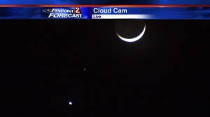 Moon, Mars and Venus taken from the KTVN Cloud Cam 6:50 pm PST, Feb 20, 2015.