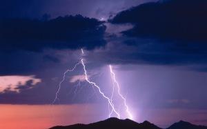 Thunderstorm and lightning, at dusk